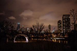 brew lights chicago skyline